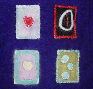 Felted ATCs wip